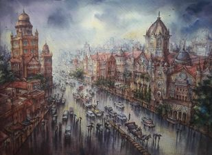 Vt station in mumbai-3 by Shubhashis Mandal, Illustration Painting, Watercolor on Paper, Gray color