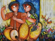 AFFECTION by Sharmi Dey, Expressionism Painting, Acrylic on Canvas, Olive color
