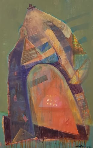 MEDITATION GOD by manik das, Abstract Painting, Acrylic on Canvas, Gray color