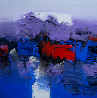 """""""Way to Abstract """" by SOMANAND M.GADAKARI, Abstract Painting, Acrylic on Canvas, Navy color"""