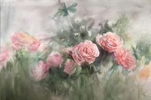Pink roses in watercolour by Nahid Aamina Sowkath, Illustration Painting, Watercolor on Paper, Silver color
