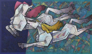 love has no limits by Dinkar Jadhav, Cubism, Expressionism Painting, Acrylic on Canvas, Gray color