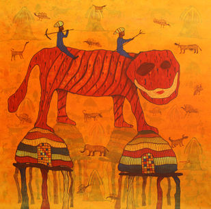 The village life by Lakhan Singh Jat, Expressionism Painting, Acrylic on Canvas, Orange color