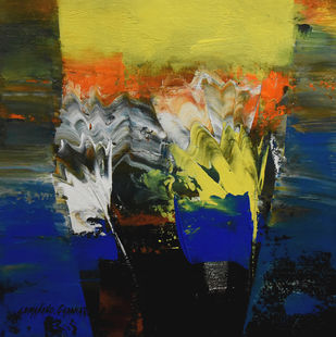 """""""Way to Abstract """" by SOMANAND M.GADAKARI, Abstract Painting, Acrylic on Canvas, Gray color"""