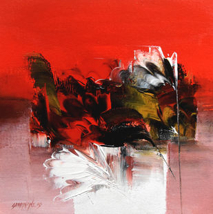 """""""Way to Abstract """" by SOMANAND M.GADAKARI, Abstract Painting, Acrylic on Canvas, Maroon color"""