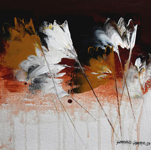 """""""Way to Abstract """" by SOMANAND M.GADAKARI, Abstract Painting, Acrylic on Canvas, Silver color"""