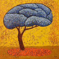 Blue Tree by Deepali S, Illustration Painting, Acrylic on Canvas, Yellow color
