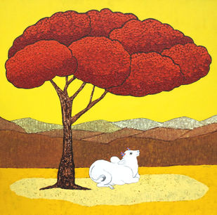 Red Tree by Deepali S, Illustration Painting, Acrylic on Canvas, Yellow color