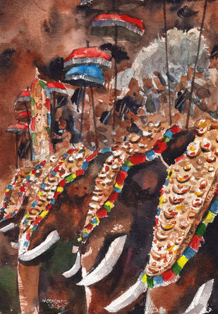 Thrissur Pooram, A Temple Festival by Mopasang Valath, Illustration Painting, Watercolor on Paper, Gray color