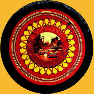 LIFEWHEEL 22 by Sujit Karmakar, Conceptual, Surrealism Painting, Acrylic on Canvas, Yellow color