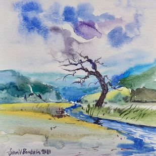 Rainy day's by Sunil Bambal, Illustration Painting, Watercolor on Paper, Silver color