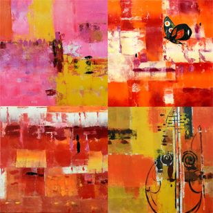 Textured music by Gita Hudson, Abstract Painting, Oil on Canvas, Maroon color