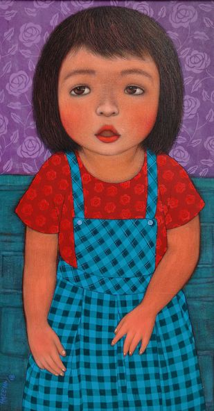 ELIZA by Meena Laishram, Illustration Painting, Acrylic on Canvas, Gray color