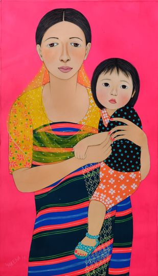 MOTHER AND DAUGHTER by Meena Laishram, Illustration Painting, Acrylic on Canvas, Red color