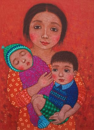 MOTHER LOVE by Meena Laishram, Illustration Painting, Acrylic on Canvas, Maroon color