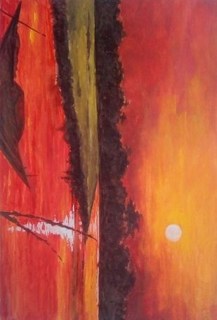 Sunset by Subhasis Palodhi, Illustration Painting, Watercolor on Paper, Maroon color