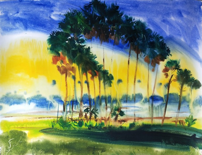 Unity by Santosh Keshari , Illustration Painting, Watercolor on Paper, Olive color