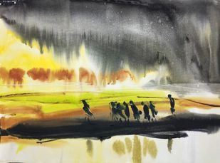 Journey by Santosh Keshari , Illustration Painting, Watercolor on Paper, Gray color
