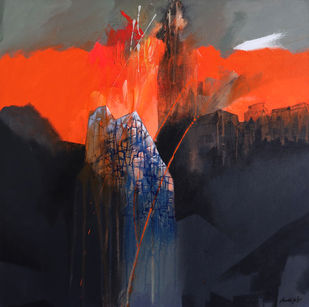 Untitled-23 by Pradip Sengupta, Abstract Painting, Acrylic on Canvas, Gray color