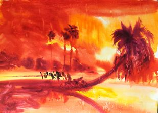 Time to return by Santosh Keshari , Illustration Painting, Watercolor on Paper, Maroon color