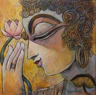 PEACE - V by Subrata Ghosh, Illustration Painting, Mixed Media on Canvas, Gray color