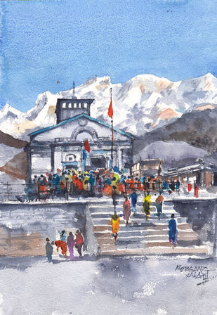 Kedar Days by Mopasang Valath, Illustration Painting, Watercolor on Paper, Blue color