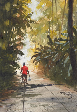 Landscape Paintings by Mopasang Valath 1 by Mopasang Valath, Illustration Painting, Watercolor on Paper, Gray color