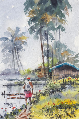 Landscape Paintings by Mopasang Valath 2 by Mopasang Valath, Illustration Painting, Watercolor on Paper, Silver color