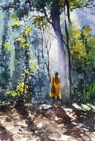 Landscape Paintings by Mopasang Valath 3 by Mopasang Valath, Illustration Painting, Watercolor on Paper, Gray color