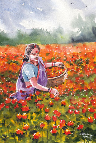 Landscape Paintings by Mopasang Valath 4 by Mopasang Valath, Illustration Painting, Watercolor on Paper, Orange color
