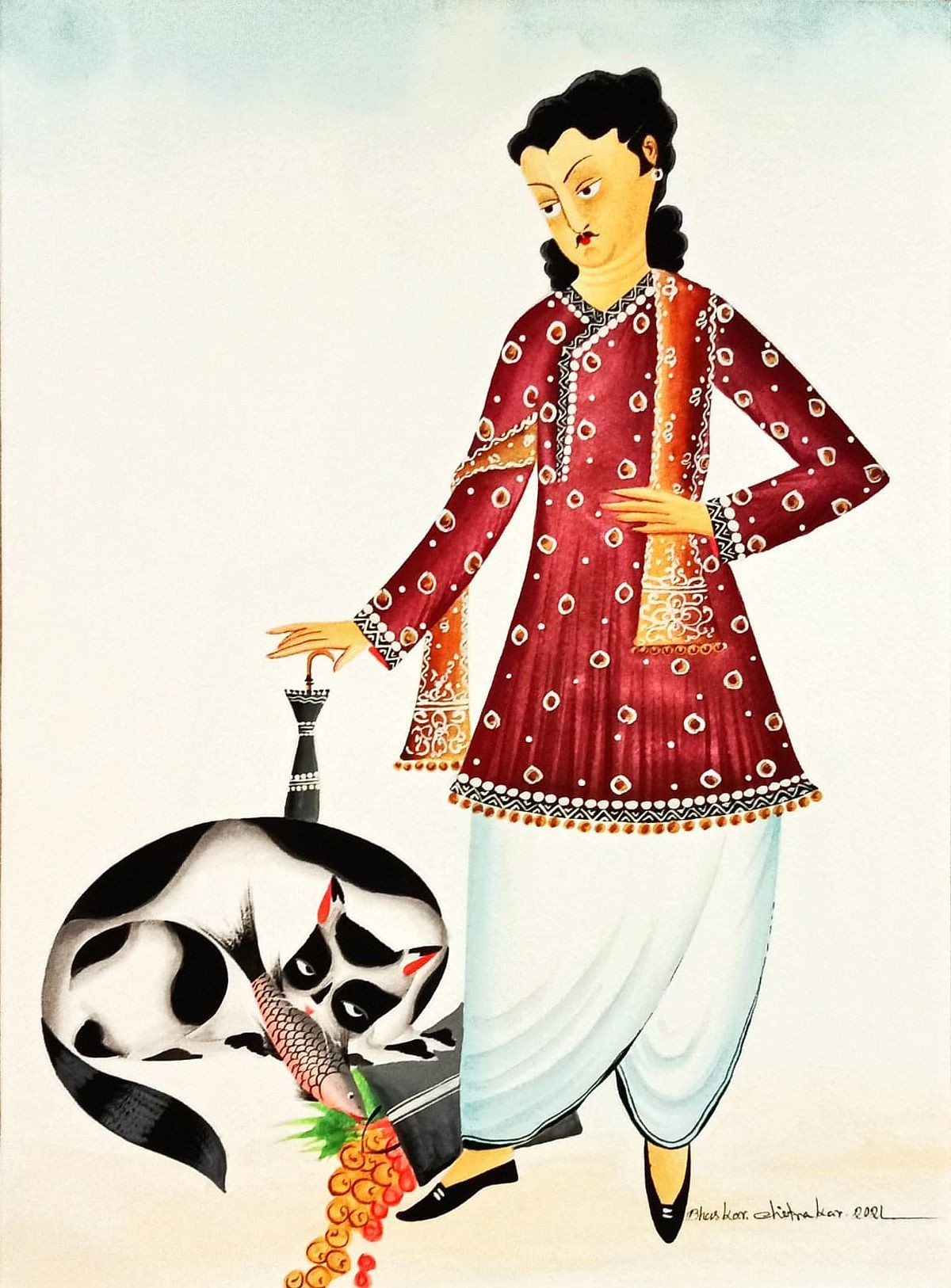 Babu and his Naughty Cat by Bhaskar Chitrakar, Traditional Painting, Natural colours on paper, Silver color