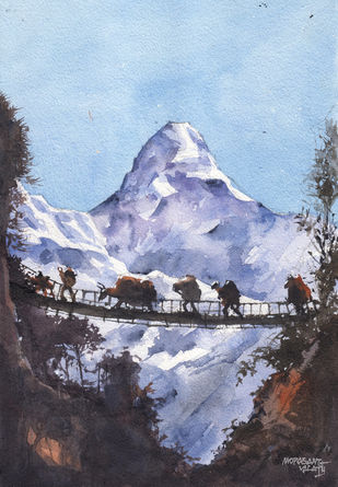 Landscape Paintings by Mopasang Valath 5 by Mopasang Valath, Illustration Painting, Watercolor on Paper, Blue color