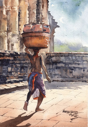 Landscape Paintings by Mopasang Valath 7 by Mopasang Valath, Illustration Painting, Watercolor on Paper, Silver color