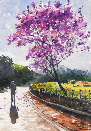 Landscape Paintings by Mopasang Valath 8 by Mopasang Valath, Illustration Painting, Watercolor on Paper, Fuchsia color