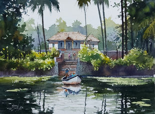 VILLAGE SCENE by Sunil Linus De, Illustration Painting, Watercolor on Paper, Gray color