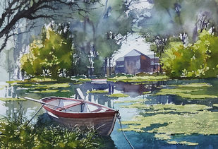 boat by Sunil Linus De, Illustration Painting, Watercolor on Paper, Gray color
