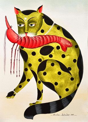 Kalighat Cat with Red Prawn in mouth by Bhaskar Chitrakar, Illustration, Traditional Painting, Natural colours on paper, Lime color