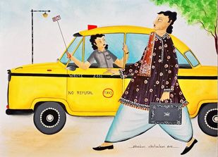 Babu getting refused by No Refusal cab by Bhaskar Chitrakar, Traditional Painting, Natural colours on paper, Silver color