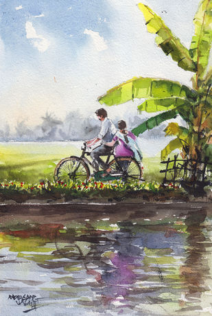 Landscape Painting By Mopasang Valath 9 by Mopasang Valath, Illustration Painting, Watercolor on Paper, Silver color