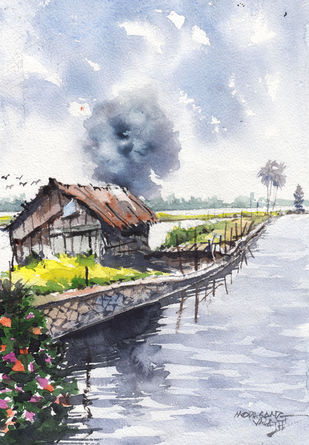 Landscape Painting By Mopasang Valath 10 by Mopasang Valath, Illustration Painting, Watercolor on Paper, Silver color