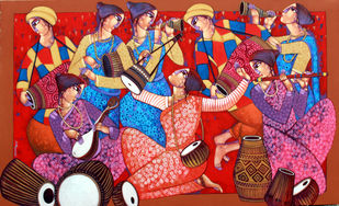 Baul by Sekhar Roy, Expressionism Painting, Acrylic on Canvas, Maroon color