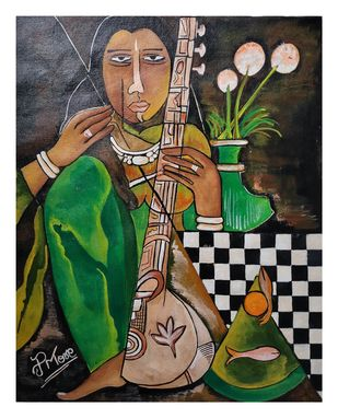 SITAR PLAYER by PARESH MORE, Expressionism Painting, Acrylic on Canvas, Gray color