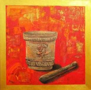 Un-apart by Nusrat Jahan , Illustration Painting, Acrylic on Canvas, Orange color