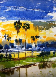 Jivan by Santosh Keshari , Illustration Painting, Watercolor on Paper, Olive color