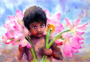 Lotus Boy by Jeyaprakash M, Expressionism Painting, Watercolor on Paper, Fuchsia color