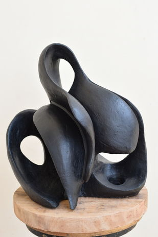 Udgam - The Wave of Origin by Aarti Gupta Bhadauria, Art Deco Sculpture | 3D, Terracotta, Orange color