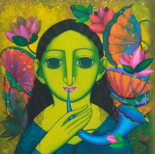 Nayika by Prakash Deshmukh, Expressionism Painting, Acrylic on Canvas, Gray color