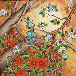Duet (14) by Vani Chawla, Illustration Painting, Acrylic on Canvas, Orange color