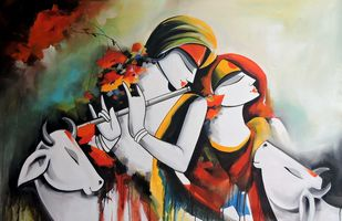 love song2 by pradeesh k raman, Decorative Painting, Acrylic on Canvas, Silver color