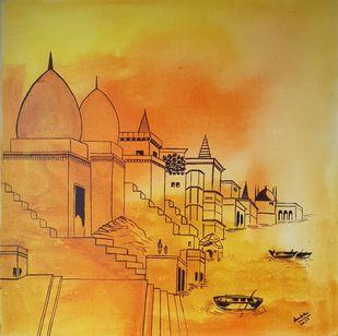 Yellow Digital Print by Ambika Malhotra,Illustration